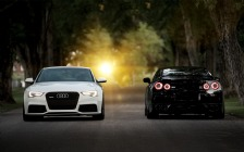 Black Nissan GT-R & White Audi RS5