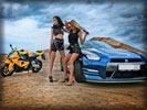 Nissan GT-R with Hot Girls, Blue Chrome, Tuning, Feet, Motorbike