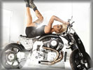 Beyonce Knowles Lying Down on a Motorbike