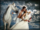 Eva Mendes for Campari with a Man & White Horse