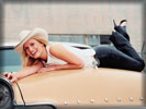 Jessica Simpson wearing Hat & Laying on Lincoln Hood, Cars & Girls