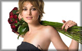 Keira Knightley with a Bouquet of Red Roses