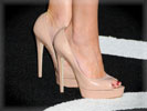 Amber Heard, Feet, Peep Toes, Cream Shoes, High Heels