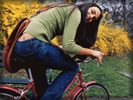 Jordana Brewster on a Bicycle