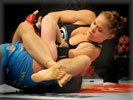 Ronda Rousey vs Sarah Kaufman during their Strikeforce Bout