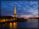Eiffel Tower at Night, Paris. River