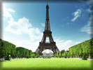Eiffel Tower, Paris, Green Grass, Sky