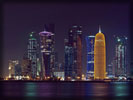 Doha, Skyscrapers, Skyline at night