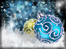 Gold & Blue Christmas Baubles, Snowflakes