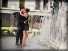 Love Couple kissing near Fountain