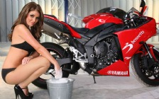 Lucy Pinder with Yamaha Motorbike, High Heels
