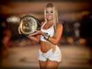 Aryane Steinkopf as a Ring Girl in White Denim Shorts