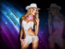 Candice Swanepoel wearing Cowboy Hat