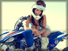 Denise Milani wearing Helmet on Yamaha, Bikes & Girls