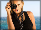 Petra Nemcova on the Beach with Canon Camera