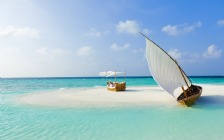 Beach and Sea, Boat, White Sand