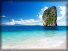 Beach and Sea, Rock, White Sand