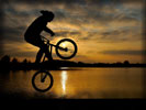Cycling, Silhouette, Sunset